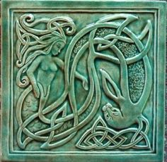 Decorative handmade ceramic tile: Handmade relief carved ceramic mermaid and seal tile Azulejos Art Nouveau, Art Nouveau Tiles, Art Deco, William Morris, Mermaids And Mermen, Celtic Art, Celtic Dragon, Mermaid Art, Mermaid Tile