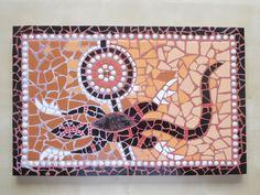 Mozaïek Salamander, geïnspireerd door Aboriginal art. gemaakt door Ceciel de Vries