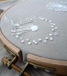 dandelion in the making2 by polkadots&blooms on Flickr. - One day I'll have time to learn how to make a quilt using needlework pieces
