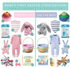 Babys first easter west coast sisters firsteaster easterbasket babys first easter basket twin edition negle
