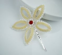 Flower bobby pin seed bead flower hair pin by 7PMboutique on Etsy, $21.00