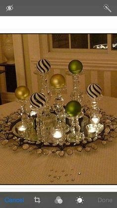 elegant sparkle at night for Christmas using black and white striped ornaments with chartreuse and lime green, clear glass candlesticks room table centerpiece ideas xmas My 2010 Christmas Dining Room Noel Christmas, Christmas Projects, Simple Christmas, All Things Christmas, Winter Christmas, Holiday Crafts, Christmas Ideas, Vector Christmas, Cheap Holiday