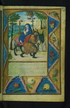 Prayer Book (fragment), Flight into Egypt with falling idol in background, Walters Manuscript W.425, fol. 50r by Walters Art Museum Illuminated Manuscripts http://flic.kr/p/A7sZcH