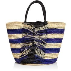 Sensi Studios Stripe Fraye Straw Tote (€290) ❤ liked on Polyvore featuring bags, handbags, tote bags, borse, straw tote bags, striped purse, striped totes, tote bag purse and straw handbags