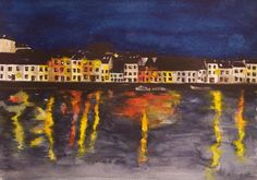 Night Lights - The Long Walk West Coast Of Ireland, Long A, Night Lights, Watercolour Painting, Giclee Print, Presents, Antiques, Artist, Gifts
