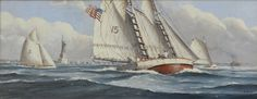 Nicholas Berger, Gusty Winds on New York Bay, oil on panel, 10 X 24 inches Nantucket, Sailing Ships, New York, Oil, New York City, Nyc, Sailboat, Tall Ships, Butter