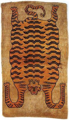 tiger rug Idea para hacer en trapillo.
