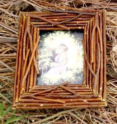 Frame, rustic, willow branches, photo frame, rustic, twig