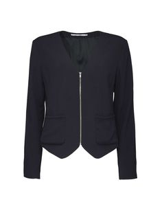 Wadu jacket-Women's collarless blazer in satin back crepe. Features zip closure at front. Two front pockets. Shaped hem at front. Fully lined. Slim fit. Below-hip length.
