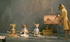Still from Wes Anderson's fabulous Fantastic Mr Fox Movie: Mama fox paints while baby foxes meditate