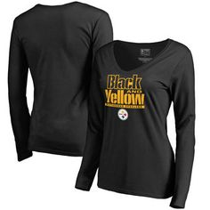4b7a905e5 Pittsburgh Steelers NFL Pro Line by Fanatics Branded Women s Hometown  Collection Long Sleeve V-Neck T-Shirt - Black