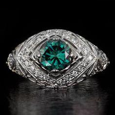 Vintage Inspired Art Deco Fancy Blue Diamond Ring Filigree Milgrain Irradiated Cocktail Statement 14K White Gold 8134-5491 by IvyandRoseVintage on Etsy https://www.etsy.com/listing/254302901/vintage-inspired-art-deco-fancy-blue