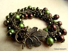 Forest Wonders handgemaakte armband met glasparels in bruin en groen op Etsy, 15,00€
