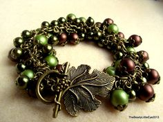 Forest Wonders handmade bracelet with glass pearls in brown and green
