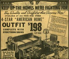 A Star Furniture ad during World War II. Furniture Ads, Cool Furniture, Primary Sources, Library Of Congress, World War Two, Vintage Ads, Old Photos, Teaching, History