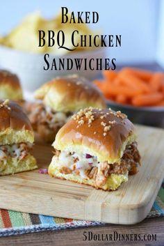 Baked BBQ Chicken Sandwiches