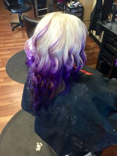 Platinum to violet balayage ombre
