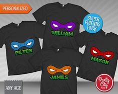 TMNT Friends Pack T-Shirt Transfers by Partycityprints on Etsy