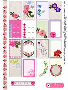 Free Printable Floral Kit for Happy Planner                                                                                                                                                                                 More
