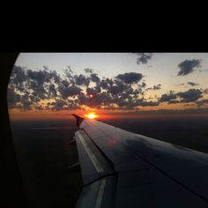 Sunrise over the airplane wing