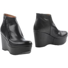 Pons Quintana Ankle Boots ($207) ❤ liked on Polyvore featuring shoes, boots, ankle booties, black, black leather boots, black wedge booties, black bootie, leather ankle boots and black ankle booties