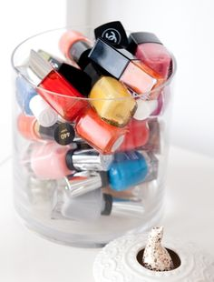 such a cute way to display nail polish
