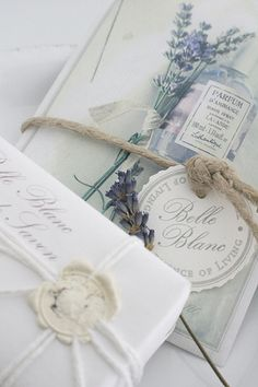 Lavendar sprigs, sealing wax and string ... pretty