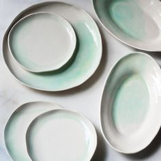 Dessert Plates in Mint Watercolor Swirl (set of two) – Suite One Studio