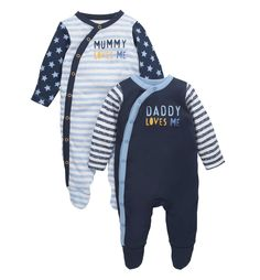 Mothercare Mummy and Daddy Sleepsuits - 2 Pack