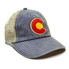 A classic, timeless trucker hat. Faded denim look, felt appliqué Colorado C, unconstructed crown, curved bill, snapback adjustable. One size fits all. Item #HA