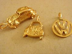VOLKSWAGON Charms  Pendants  Gold Plated VW by Beadgarden55, $8.00