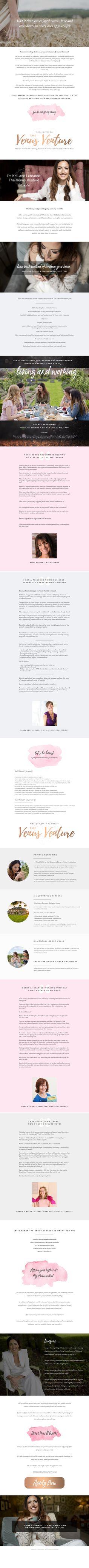 Sales Page I designed for The Venus Venture mastermind for women entrepreneurs Marketing Ideas, Marketing Tools, Business Marketing, Page Design, My Design, Entrepreneur, Branding, Venus, Content