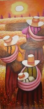 cuadros de las chismositas - Cerca amb Google Hispanic Art, Peruvian Art, African Paintings, Southwest Art, Mexican Art, Graphic Patterns, Art Techniques, Art Lessons, Painting & Drawing