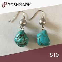 Turquoise Stone Earrings Turquoise Dangly Earrings with silver pearls Jewelry Earrings