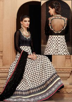 Black N Cream Banarasi Net Anarkali Salwar Suit,Black N Cream Color Banarasi Net Fabric Top With Beautiful Embroidery Work,Black Color Santoon Bottom And Black Color Chiffon Fabric Dupatta,This Suit Can Be Stitch Up To Max Size Indian Anarkali, Pakistani Dresses, Indian Dresses, Indian Outfits, Bollywood Dress, Anarkali Frock, Anarkali Dress, Anarkali Suits, Lehenga Choli