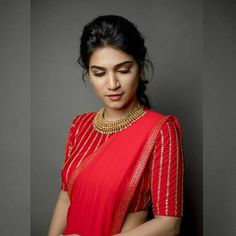 Wow attractive red, always unique Pattu Saree Blouse Designs, Stylish Blouse Design, Fancy Blouse Designs, Bridal Blouse Designs, Red Blouse Saree, Latest Saree Blouse Designs, Latest Blouse Patterns, Brocade Blouse Designs, Sari Dress