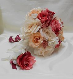 Wedding Silk Flowers Bridal Bouquet Your Colors by BellinaBlue, $54.00