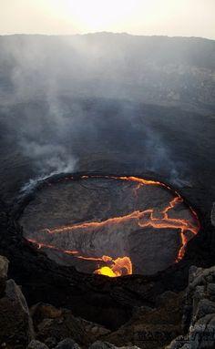 """Erta Ale Volcano, Ethiopia, Africa. Erta Ale means """"smoking mountain""""."""