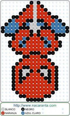 plantillas hama beads Spiderman down en P - beading Melty Bead Patterns, Pearler Bead Patterns, Bead Loom Patterns, Beading Patterns, Peyote Patterns, Color Patterns, Embroidery Patterns, Art Patterns, Crochet Patterns