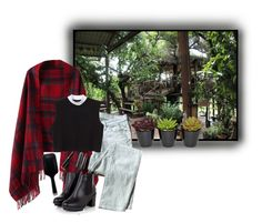 """""""life"""" by forebodinq ❤ liked on Polyvore featuring Chicnova Fashion, 7 For All Mankind, Monki and GHD"""