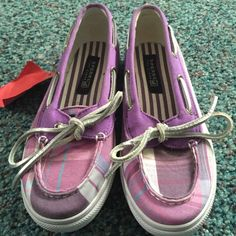 NWT Purple Plaid Sperry Top Siders Never been worn Girls (size 2.5) Purple plaid Sperrys with silver metallic laces. Super Cute & Comfy! I usually wear a women's 5 in Sperrys and these fit pretty snug. Accepting reasonable offers! Sperry Top-Sider Shoes