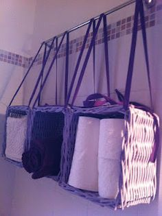 Hanging baskets storage for small bathroom