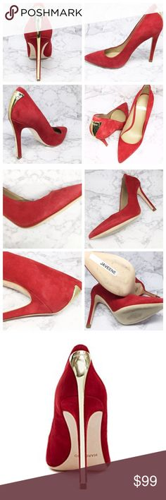 "new | Marciano Burgundy Javeene Gold Heel 9 A high-shine logo plaque instantly elevates this sophisticated pointed-toe pump. Made of ultra-smooth suede—you need this in your closet now! Features curved gold metal plate at back of 4.25"" heel. Very sexy!   • size 9 • new and never worn, some rubbing on suede towards the soles, but not visible when worn. Marciano Shoes Heels"