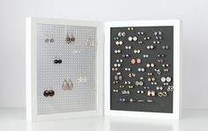 8x10 Double Framed Earring Organizer - White