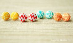 How to make fabric jewelry, including these button earrings.