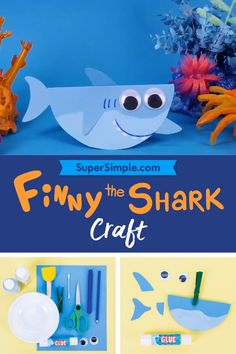 Finny and Family Swimming Shark Craft - Super Simple Sea Animal Crafts, Animal Crafts For Kids, Summer Crafts For Kids, Craft Activities For Kids, Toddler Crafts, Preschool Crafts, Art For Kids, Shark Activities, Preschool Classroom