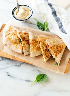 These quesadillas are made with hummus instead of cheese, and they are absolutely delicious! Hummus quesadillas are a healthy dairy-free and vegan meal.