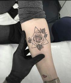 Small Rose Triangle Forearm Tattoo Ideas for Women Geometric Triangle Flower Arm. - Tattoo, Tattoo ideas, Tattoo shops, Tattoo actor, Tattoo art - Small Rose Triangle Forearm Tattoo Ideas for Women Geometric Triangle Flower Arm… - Trendy Tattoos, Cute Tattoos, Leg Tattoos, Beautiful Tattoos, Body Art Tattoos, Tattoos For Guys, Sleeve Tattoos, Tatoos, Arm Tattoos Forearm