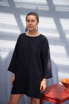 The Vini Mini is an oversized, Natural Linen dress with wide sleeves Papa Clothing is all made-to-order and can take between weeks to be prepared and shipped Made in New Zealand Labour Weekend, Linen Dresses, Natural Linen, Bell Sleeve Top, Electric Car, Pure Products, Clothes For Women, Lady, Mini