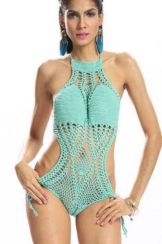 Khaki Crochet V Neck Halter Bikini Set with Lace-up Back from mobile - US$15.95 -YOINS
